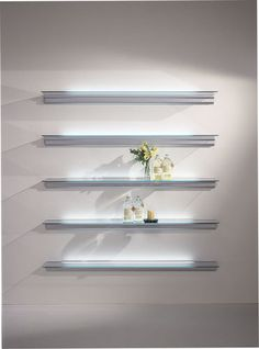 Wall Mounted Shelving Unit With Built In Lights Hialina By Bd Barcelona Design Oscar Tusquets Blanca Lluís Clotet