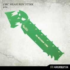 "This set contains one Orc Measurin' Stikk made from green fluorescent acrylic.  It measures 6 inches along longest edge with edges of 3"", 2"" and 1"" for easier checking of most common distances."