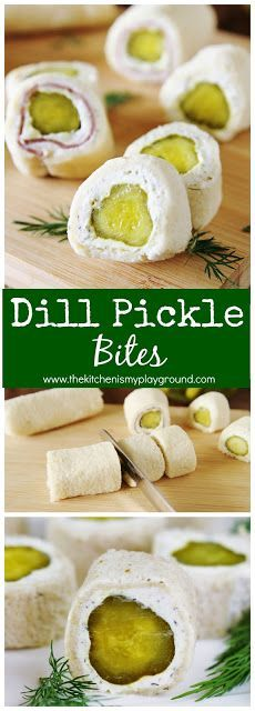 Dill Pickle Bites ~ the crunch and zing of dill pickles in a tasty little bite! #pickles #partyfood #gameday #gamedayfood #thekitchenismyplayground www.thekitchenismyplayground.com