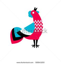 Red rooster vector illustration. Silhouette of a rooster - a symbol of 2017 on east calendar. Stylized bird in folk style. Sign, logo, emblem. Vector element for New Year design .