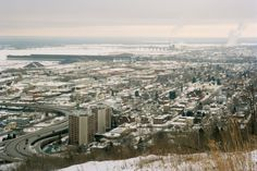 Snowy Duluth cityscape...Holy Family Church in the background
