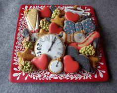 Bandeja de galletas decoradas para Fin de Año. Happy new year cookies