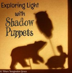 Using DIY shadow puppets to explore light and shadows. Fun for all ages!
