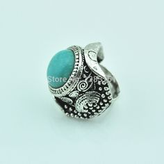 Adjustable Turquoise Tibetan Antique Silver Plated Ring. 2.13 on DengDengJewelry - AliExpress.com