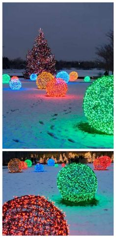 Light balls made with chicken wire and mini lights