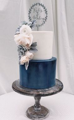 Featured Cake: Hey-There Cupcake!; Chic blue and white wedding cake