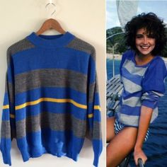 80s / UCLA Retro Sweater Amazingly soft stripe sweater in like new condition. High neckline and loose sleeves. Colors remind me of UCLA!  BRAND: - MATERIAL: - YEAR/ERA: 80s LABEL SIZE: - BEST FIT: S/M  MEASUREMENTS: Bust 24 inches Length 24 inches  → Style inspiration: Jo Francki, Seventeen Magazine (1983) ☒ I do not model or trade, sorry! ❁ Check out my closet for more vintage! Vintage Sweaters