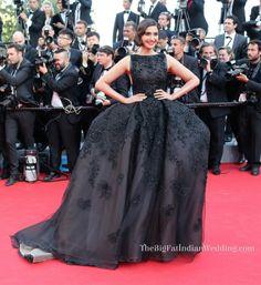 Sonam Kapoor in a vintage styled Elle Saab black dress at Cannes Film Festival 2014
