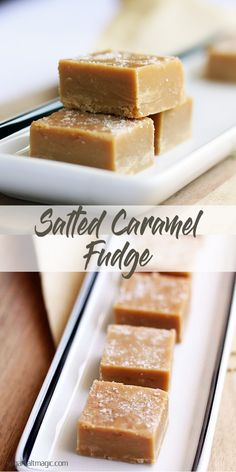 This Salted Caramel Fudge is a smooth and creamy easy caramel fudge with a sea salt topping. Fudge is also perfect for food gifts. Fudge Recipes, Candy Recipes, Gourmet Recipes, Sweet Recipes, Baking Recipes, Dessert Recipes, Salted Caramel Fudge, Salted Caramels, Slow Cooker Fudge