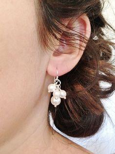 Pearl Bridal Earrings Simple Pearl Wedding by RoslynHarrisDesigns