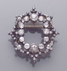 Solid Beautiful Round Halo Vintage Style brooch sterling silver 925 Jewelry Cz* #Handmade