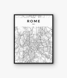 Rome Map Print, Rome Print, Italy Print, Rome Poster, Rome Decor, Italy Poster, Rome Wall Art, Rome Printable Map, Black and White Map  ◆ INSTANT DOWNLOAD Please note, this is a digital product, saving you delivery time and shipping costs. No physical product will be shipped. Frame and background are not included.  ◆ FILES & SIZES All files are high resolution (300 dpi) ensuring best quality when printed. Includes the most popular sizes:  • 4 x 6 JPG file • 5 x 7 JPG file • 8 x 10 JPG fil...