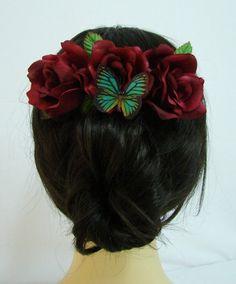 Red Silk Rose Flower Hair Comb Schmetterling von Bonitagirlshop