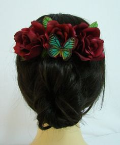 Red Silk Rose Flower Hair Comb Schmetterling von Bonitagirlshop
