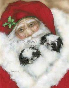Japanese Chin Dog Santa Art Note Cards Artist Darcie Olson free ship USA