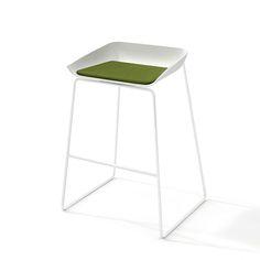 Scoop Bar Stool, Green Seat, White Frame,Green - 230