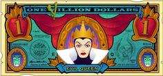 Disney Dollars, One Villion Dollars, Evil Queen Disney Money, Disney Day, Arte Disney, Disney Theme, Disney Style, Disney Pixar, Disney Wiki, Evil Disney, Snow White Disney