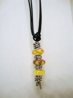 PANDORA Black Leather Lariat Necklace with Sunny Yellow Murano.