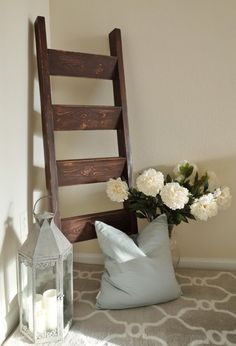 Handmade Blanket Ladder by WhiteKeyCottage on Etsy Rustic Cottage Farmhouse Chic
