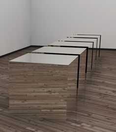 Donald Judd-Cubes.    These metal cubes are heavy in reality, but very light visually. Judd was the master of juxtaposition.