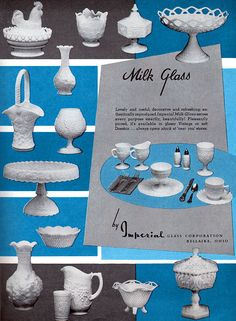 Imperial Milk Glass BASKET Candy Dish HOBNAIL Lacy Edge VASE 1958 MAGAZINE AD