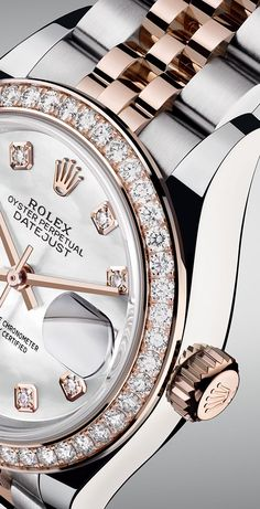 The Rolex Lady-Datejust 28 in Everose Rolesor with a diamond-set bezel and a white mother-of-pearl dial. The Rolex Lady-Datejust 28 in Everose Rolesor with a diamond-set bezel and a white mother-of-pearl dial. Rolex Watches For Men, Cool Watches, Ladies Watches, Luxury Watches For Men, Women's Watches, Wrist Watches, New Rolex, Men's Rolex, Rolex Datejust