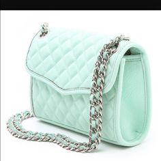 Quilted mini Rebecca Minkoff bag in mint. Never worn with tags and dust Rebecca Minkoff Accessories