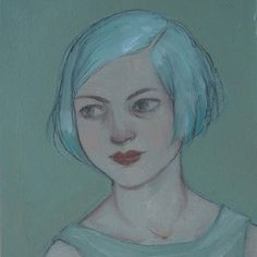 """Original Oil Painting ACEO Girl Portrait by Amy Abshier Reyes """"One"""""""