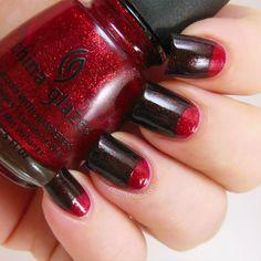 China Glaze Ruby Pumps and Lubu Heels half moon manicure