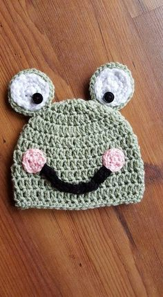 Crocheted baby frog hat