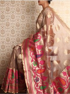 Brown Cutwork Tissue Resham Saree