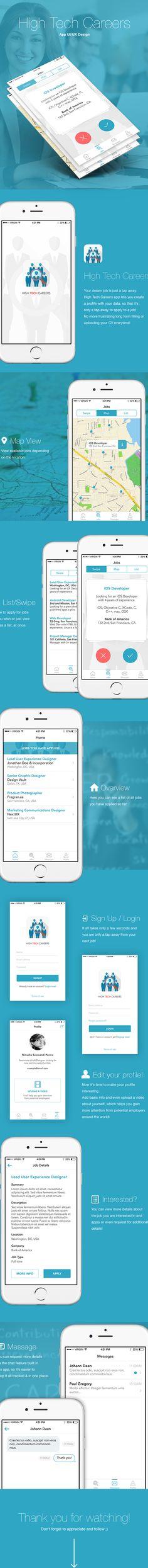 HIGH TECH CAREERS | iOS App UI Design on Behance