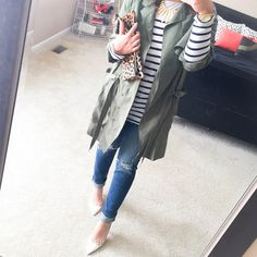 Army Green Trench + Striped Tee + Leopard Clutch + Ripped Jeans {4 Ways to style a Trench Dress}