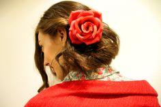 Rosa roja lisa en espuma eva o foami