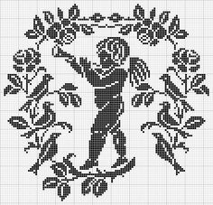 Cherub filet work diagram ONLY. NOTE: each grid consists of 10 squares from top to bottom and side by side, 11 x 11 grids. 1 square = 4 double crochet, 2 squares = 7 double crochet, 3 squares = 10 double crochet and keep on adding 3 Cross Stitch Fairy, Cross Stitch Angels, Beaded Cross Stitch, Cross Stitch Charts, Cross Stitch Designs, Cross Stitch Embroidery, Cross Stitch Patterns, Filet Crochet, Crochet Diagram