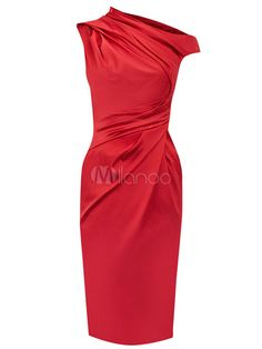 Grâce robe bodycon en acétate rouge à enveloppe sans manches - Milanoo.com