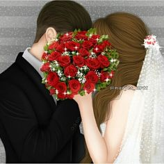 Image may contain: one or more people and flower Love Cartoon Couple, Cute Cartoon Pictures, Cute Couple Art, Anime Love Couple, Cute Couple Pictures, Love Photos, Lovely Girl Image, Cute Girl Photo, Girls Image