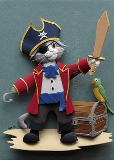 Pirate Kitten Cat 5x7 2D PRINT of a paper sculpture by Matthew Ross