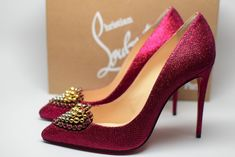 Christian Louboutin Coralta Mia 100 Red Glitter Heart Heel Pump 40 for sale online Patent Heels, Patent Leather Pumps, Peep Toe Heels, Pointed Toe Pumps, Beaded Shoes, Christian Louboutin So Kate, Red Glitter, Pump Shoes, Heart Pump