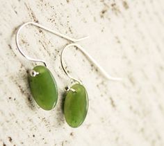 Green Jade Oval Drop Earrings  Sterling Silver  by jadepeony, $39.00