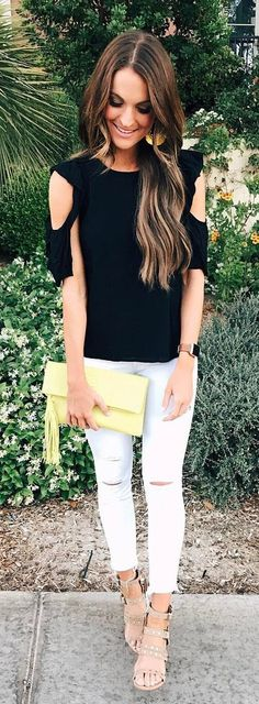 #summer #outfits Black Cold Shoulder Blouse + White Ripped Skinny Jeans + Grey Sandals