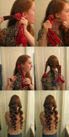 Use bandanas to make waves in your hair. Hair tie the end of the bandana where your hair ends... Leave in over night. Loosen curls with your fingers and viola!