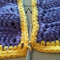 """Use this to join the crochet beach skirt. How to Join Crochet Squares - Completely Flat """"Zipper"""" Method – Look At What I Made Crochet Quilt, Crochet Blocks, Crochet Motif, Crochet Stitches, Free Crochet, Knit Crochet, Crochet Edgings, Crochet Flowers, Joining Crochet Squares"""
