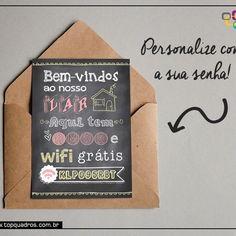 Poster fofo para você personalizar com a sua senha do Wifi desenvolvido pela artista Sabrina Matias ♥ Quem também já quer um destes? a partir de R$29,90. #quadro #personalizar #poster #senha #wifi #topquadros