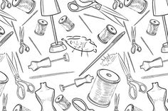 Hand drawn sewing pattern by Netkoff on @creativemarket