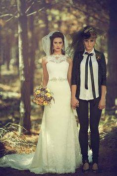 Publicity shot of same-sex wedding designs by Sydney designer Sarah Joseph Couture. Photo: Robert Coppa/Sarah Joseph Coutur