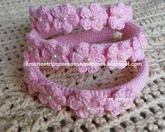 Resultado de imagem para tiara toda  de flores de croche para bebe