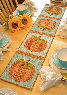 Vintage Blessings Table Runner Kit - October: Decorate your home all year long with a beautiful Vintage Blessings Table Runner by Jennifer Bosworth of Shabby Fabrics. This applique kit is for our October design. Table Runner measures approximately x Table Runner And Placemats, Table Runner Pattern, Quilted Table Runners, Fall Table Runner, Autumn Table, Fall Sewing, Place Mats Quilted, Quilted Table Toppers, Shabby Fabrics