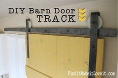DIY Barn Door Track. This track costs only $50 and little bit of time! Find it, Make it, Love it