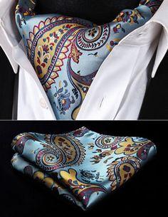 RP928YS Blue Yellow Red Paisley Men Silk Cravat Ascot Tie Handkerchief Set